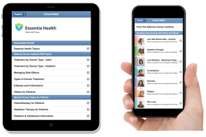 Essentia Health NCI Topics shown both on an iPad and an iPhone