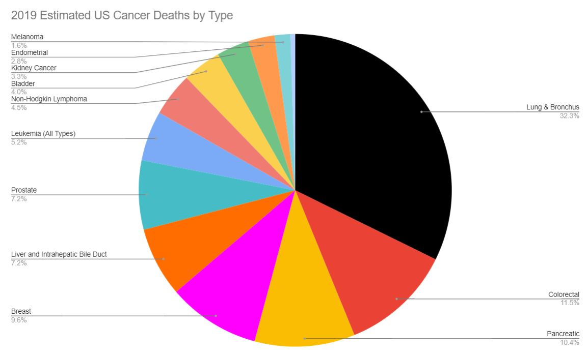2019 Estimated US Cancer Deaths by Type (Pie Chart)