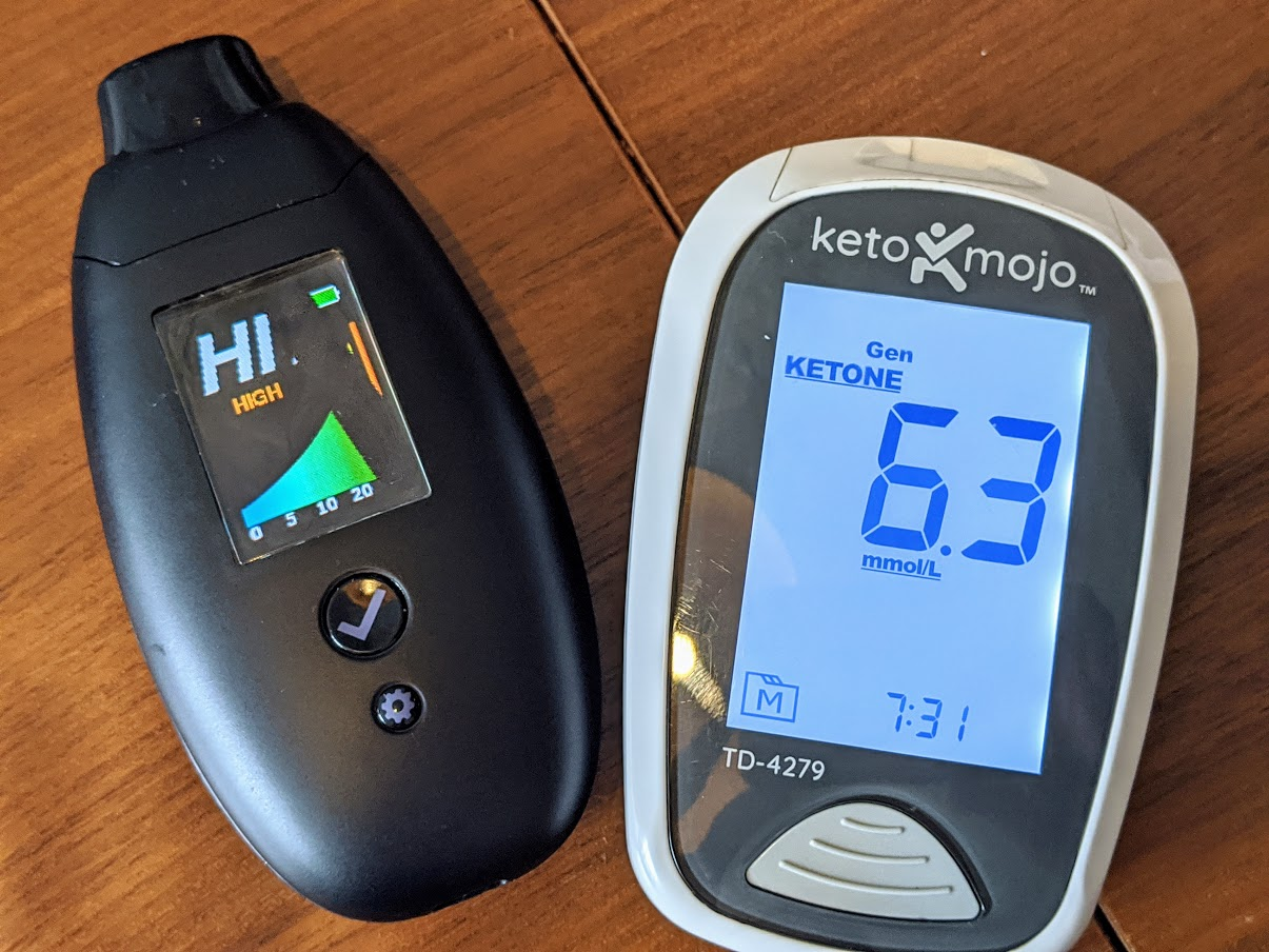 Comparison showing that a high ketone measure on keto mojo can't be tracked on Biosense