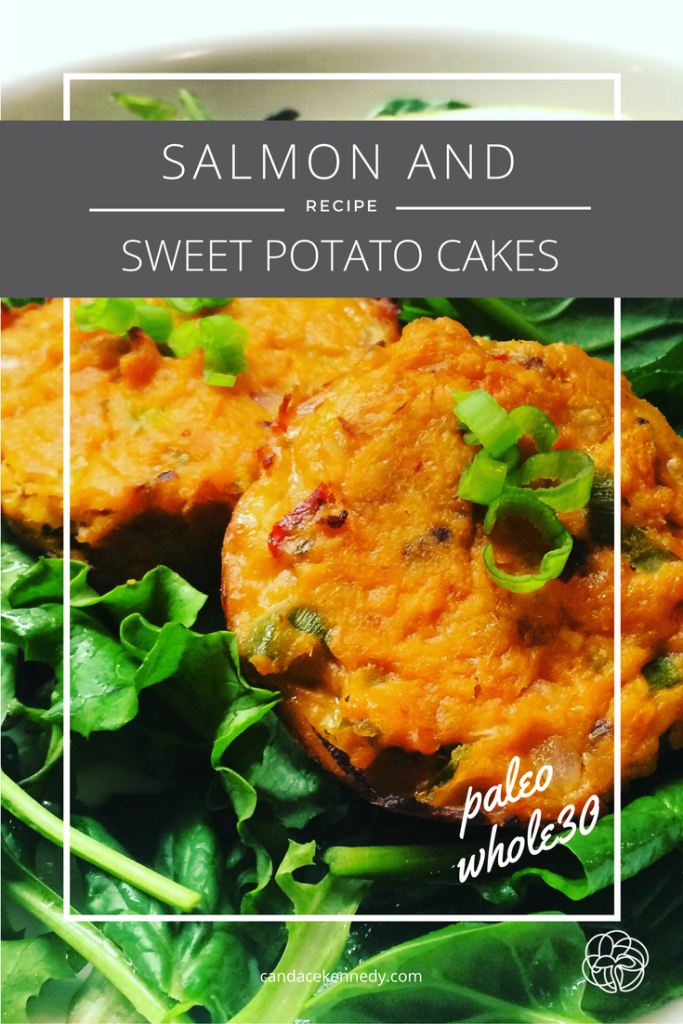 salmon and sweet potato cakes over greens