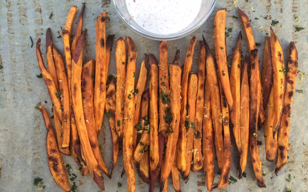 Baked Sweet Potato Fries with Lemon, Garlic Aioli