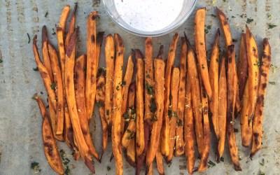 Baked Sweet Potato Fries with Lemon, Garlic Aioli