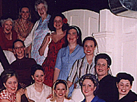 Candace Shaw (red dress) with Les Belles-soeurs cast - 2004