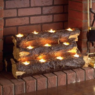 Resin Tealight Fireplace Log Candelabra