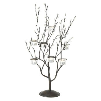 Twig and Leaf Votive Candelabra Candle Holder