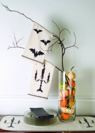 Halloween Tea Towels Candelabra