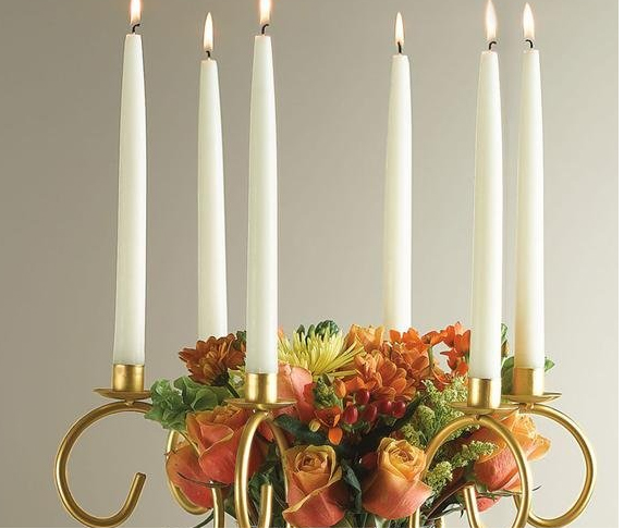 Gold Scroll Candelabra with Flower Vase