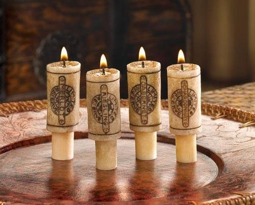 Wine Cork Candles w Merlot Scent, Wine Gift Set of 4 - Great Romantic Wine Decor