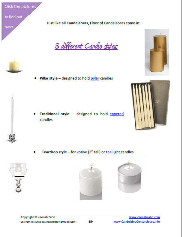 3 Different Candle Styles for your Candelabra