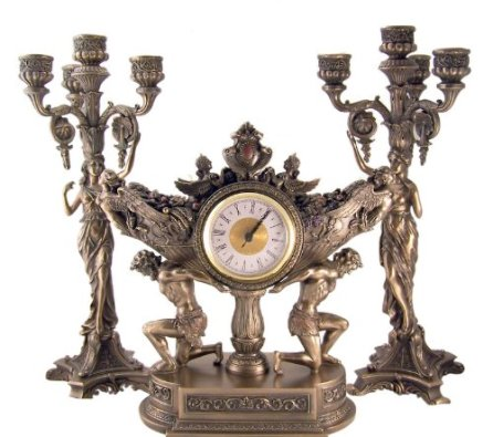 clock Vessel of Harvest  Bronze Mantle Clock with Toga Lady Candelabra Candleholers