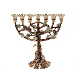24k Gold Plated 7 Branch Blooming Menorah in Brown with Emerald Crystals