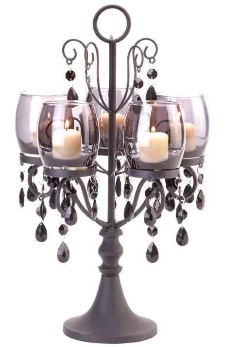 BLACK Beaded Crystal chandelier CANDELABRA Candle Holder Wedding centerpiece2