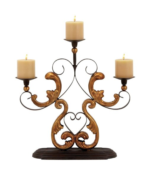 3 arm gold scroll Metal Candelabra