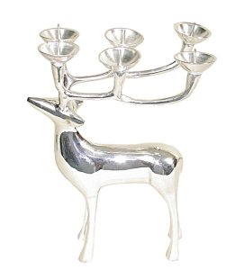 8inch Silver Reindeer candelabra Candle Holder (Set of 2)