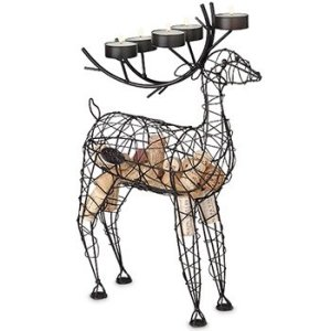 Reindeer Candelabra Wine Bottle Holder & Cork Cage