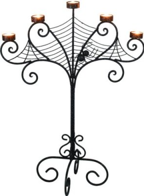Halloween Candelabra with spiderweb design
