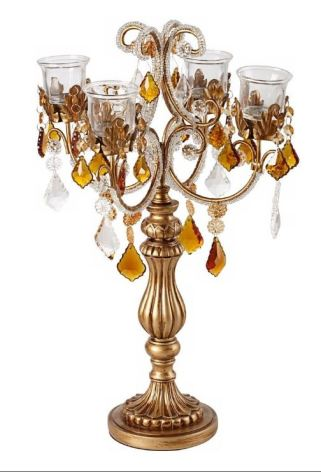 Amber droplets Gold Candelabra Votive Candle Holder
