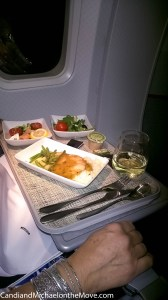 We had a great dinner in Business class, with real silver.  YUM!