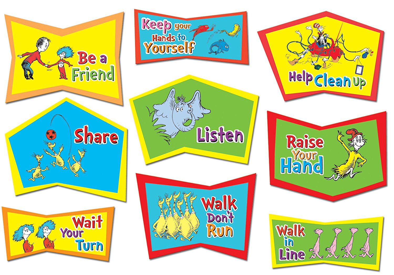 Eureka Dr Seuss Classroom Rules Bulletin Board Sets 4