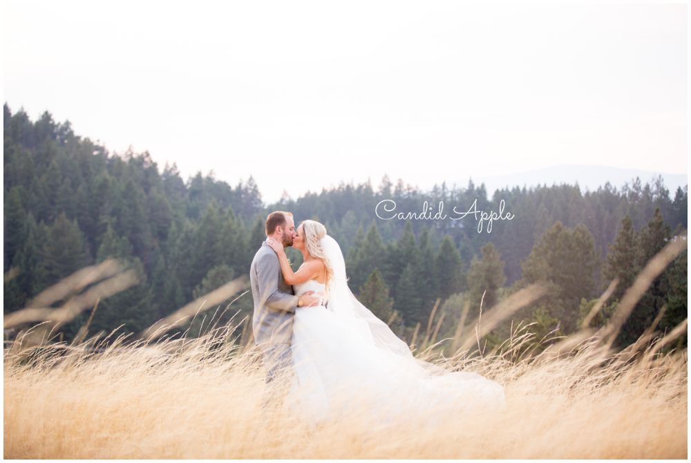 A Stunning Couple Kissing In a Beautiful Pasture with the Wind Blowing