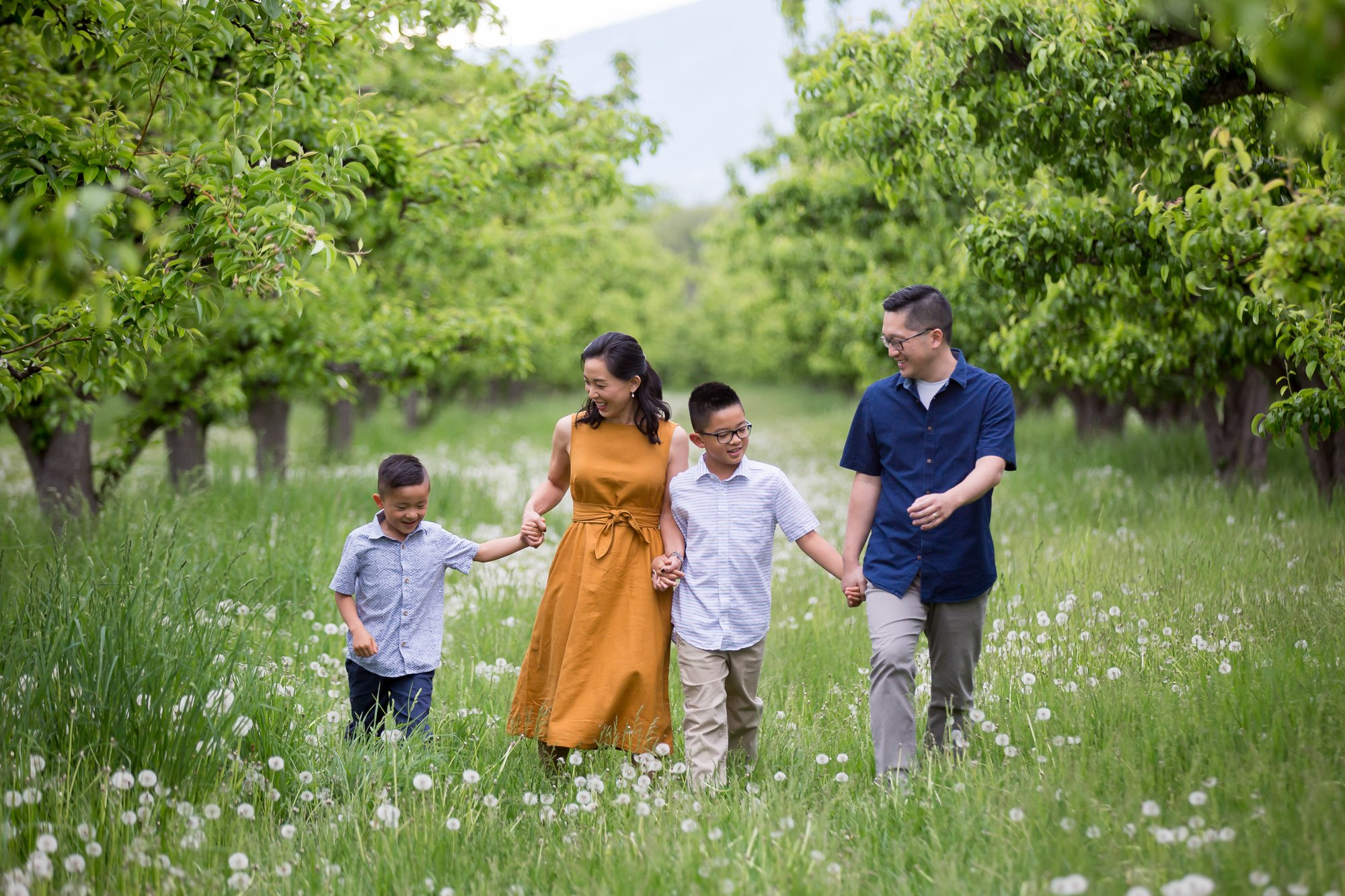 A family walking through an orchard together
