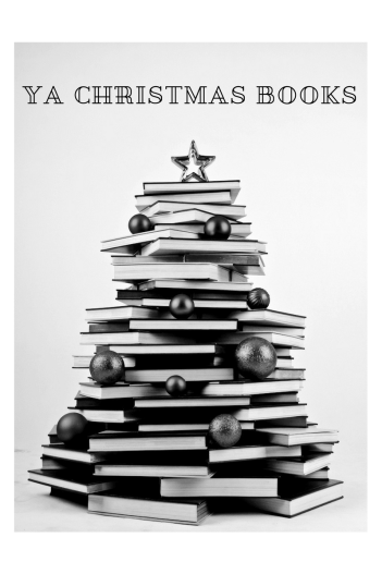 Books arranged in a Christmas Tree display.