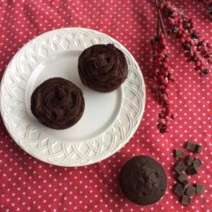 Chocolate cupcakes on a white plate with a red background