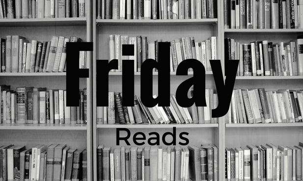 Bookshelf in black and white with the word Friday Reads.