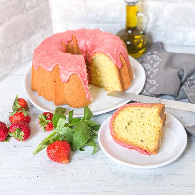 Basil Olive Oil Cake with Strawberry Glaze