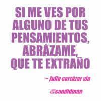 Si me ves por alguno de tus pensamientos, abrázame, que te extraño - Julio Cortázar