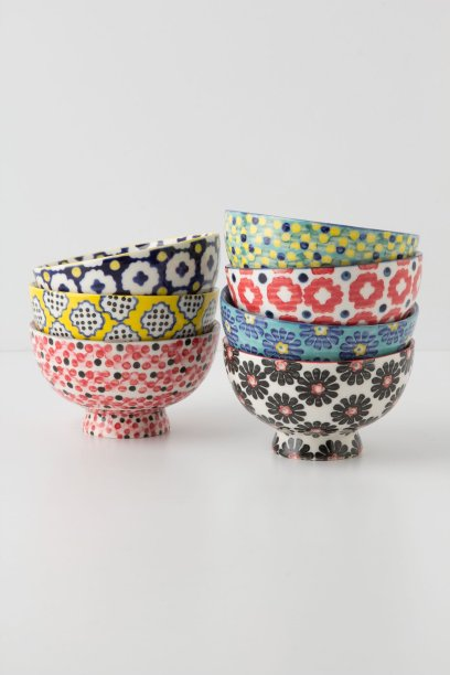 Tiled and Dotted Bowl in Yellow, Black Motif, Green Motif, Dark Blue, Blue Motif, Pink, Red Motif. Anthropologie