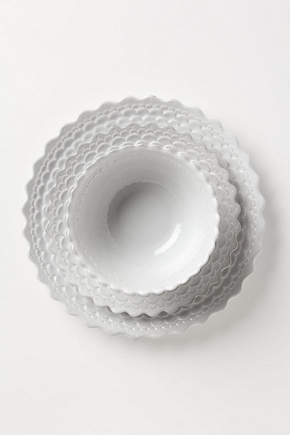 Piecrust Dinnerware: Dinner Plate, Salad Plate in White. Anthropologie