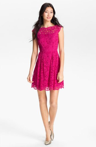 Cynthia Steffe Lace Fit & Flare Dress in Mod Pink. Nordstrom
