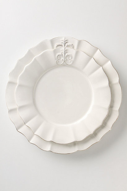 Fleur De Lys Dinnerware: Dinner Plate, Salad Plate in White. Anthropologie