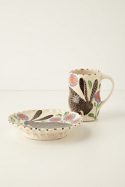 Handmade (in the USA) Leaping Hare Mug in Purple Motif. Anthropologie