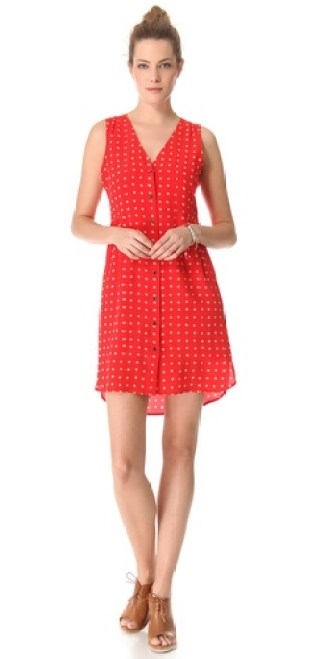 Madewell Odette Dress in Scarborough Red with petite flowers. Shopbop
