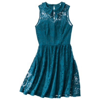 Xhilaration Juniors Lace Peter Pan Collar Fit and Flare Dress in Teal, Mauve or Black. Target