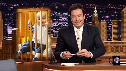 Jimmy Fallon writes thank you notes on Friday, April 4, 2014. Talks baby cribs, Michael Strahan, Ryan Seacrest and more.