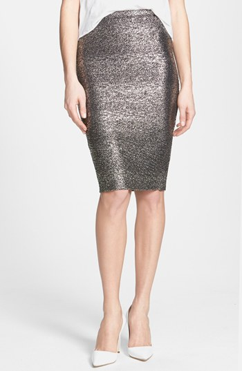 June & Hudson Metallic Pencil Skirt in Black