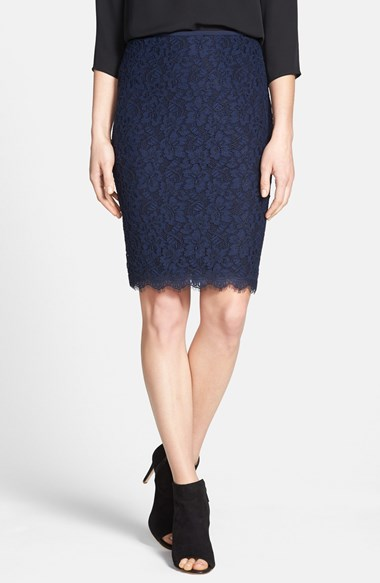 Diane von Furstenberg 'Scotia' Lace Pencil Skirt in Navy Blue