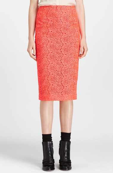 A.L.C. 'Towner' Pencil Skirt in Neon Pink