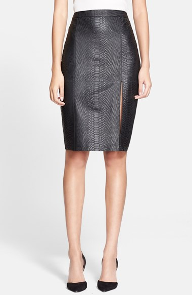 Alice + Olivia Embossed Leather Skirt in Black Snake