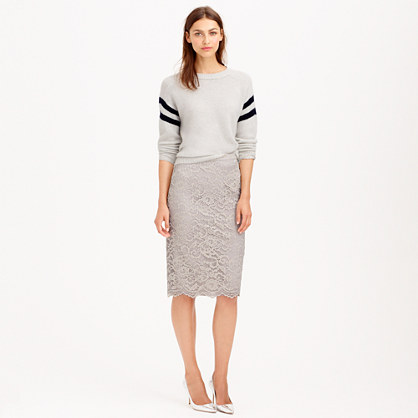 J.Crew COLLECTION LACE PENCIL SKIRT item b2313 in Foggy Mist