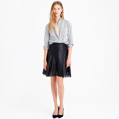 J.Crew COLLECTION PLAZA SKIRT IN LASER-CUT LEATHER in black item b2315