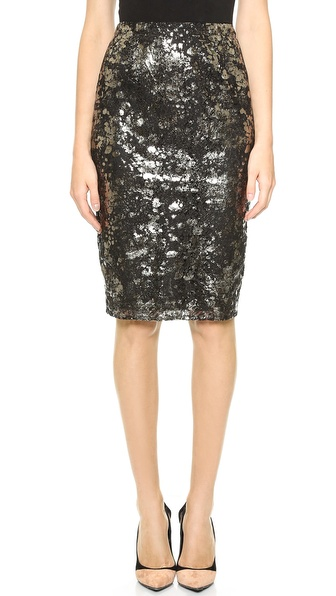 Lela Rose Straight Pencil Skirt in Black Metallic