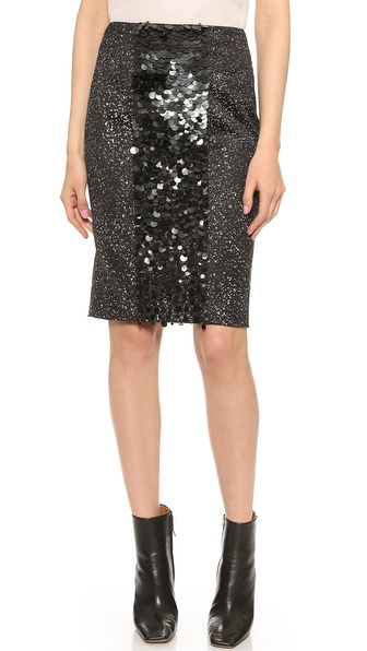 Vera Wang Collection Pencil Skirt with Sequin Front Panel in Black