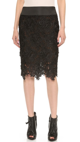 Vera Wang Collection Rose Guipure Lace Black Pencil Skirt