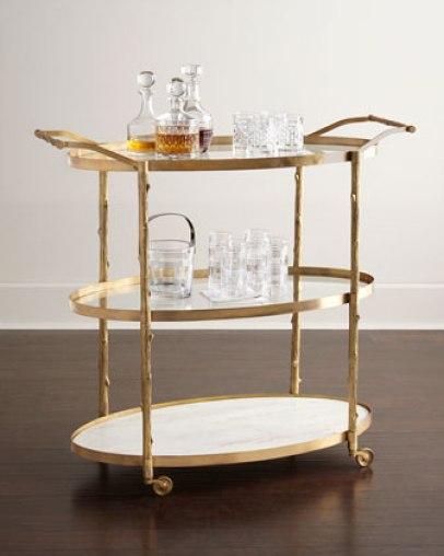 Global Views Danese Bar Cart in Gold