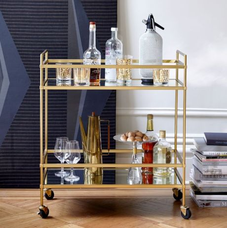 Terrace Bar Cart in Antique Brass West Elm