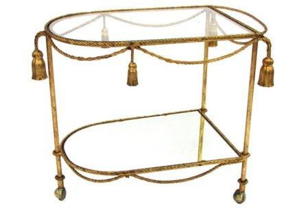 VINTAGE Italian Tassel Gilt Bar Cart w/ Mirror